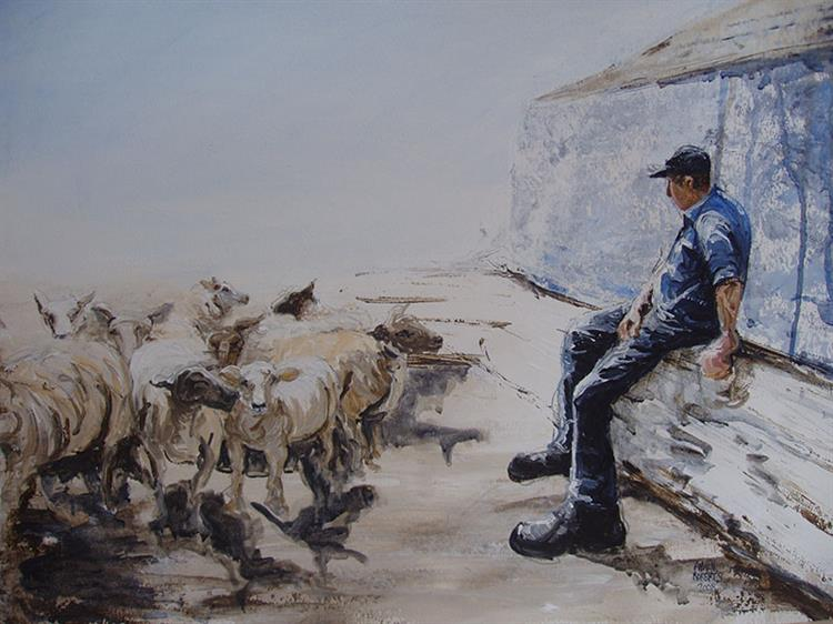 Farmer sitting with sheep
